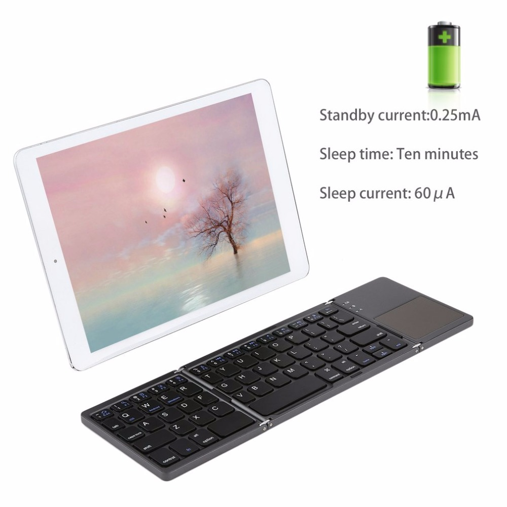 лучшая цена Foldable Bluetooth Keyboard with Touchpad Pocket Size Portable Mini Slim Keyboard Rechargable Battery for iOS Android Windows PC