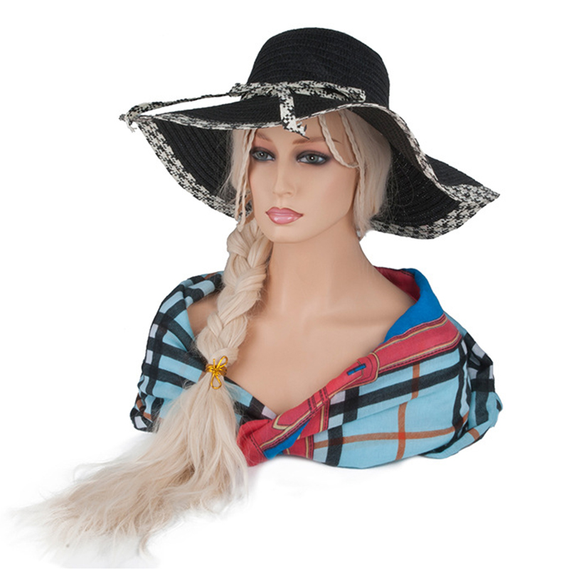 Nouveau femme réaliste Mannequin tête PVC chapeau lunettes diamant collier affichage moule Stand perruque Mannequin tête Stand épaule