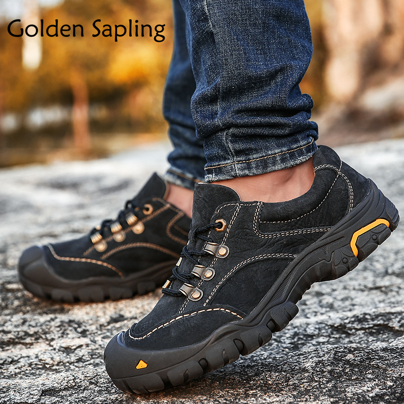 Golden Sapling Man Sneakers Mountain Hiking Shoes Men Waterproof Leather Men's Winter Sneakers Rubber Mens Sport Tactical Shoes sapling
