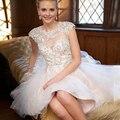 Sweet 15 año sheer blanco cortos vestidos de fiesta sexy backless del vestido de bola appliques octava graduación vestido por encargo 2017 nuevo