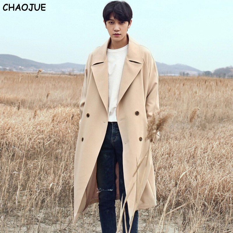 Здесь продается  CHAOJUE Trench Coat Men 2017 Spring/Autumn Europe Brand Loose Coats S-6XL Dropped Shoulder Sleeve Peacoat Korea Coat Trench  Одежда и аксессуары