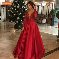 Luxury Custom Made Evening Dresses Long Sleeves 2020 Sexy V Neck Lace Applique Formal Dress Floor Length A line Evening Gowns