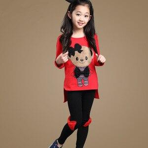 Image 1 - ملابس أطفال طقم رياضي للخريف ربيعي بأكمام طويلة + سروال مريح ملابس بناتي للأطفال من سن 3 إلى 10 سنوات ملابس للمراهقات