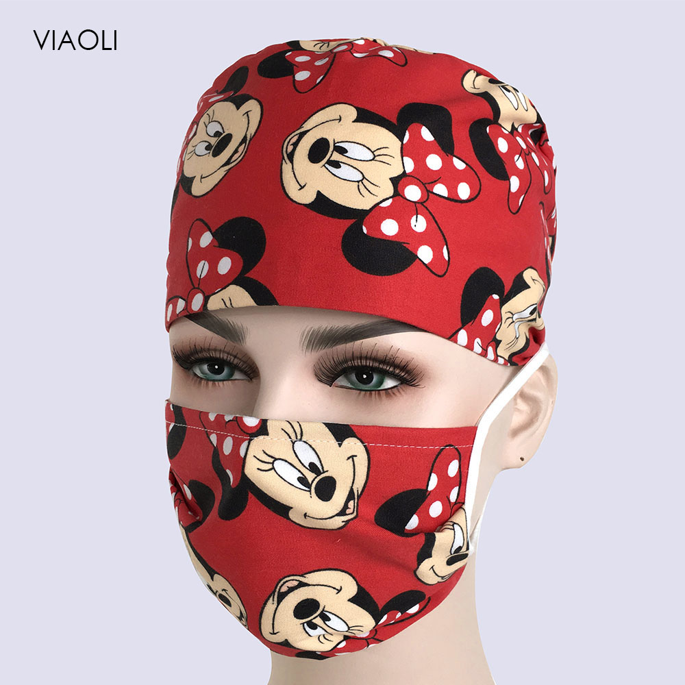 Printed Cap Hospital Laser Eye Operating Room Hats Doctors Nurses Unisex Medical Surgical Beauty Caps Dentist Pet Scrub Cap Mask