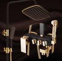 浴室の高級ブラックゴールデンシャワーミキサーでビデシャワーバスタブとシャワーミキサーセット浴室のシャワーの蛇口浴槽の蛇口セッ
