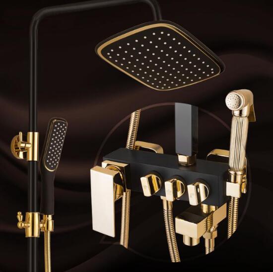 łazienka Luksusowy Czarny Złoty Bateria Prysznicowa Z Bidet Prysznic