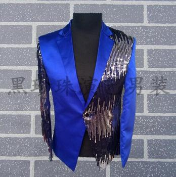 Blue Men Suits Designs Masculino Homme Terno Stage Costumes For Singers Men Sequin Blazer Dance Clothes Jacket Star Style Dress