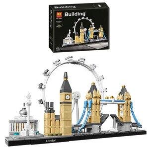 Image 1 - 10678 Architecture Building Set London 21034 Big Ben Tower Bridge Model Building Block Bricks Toys