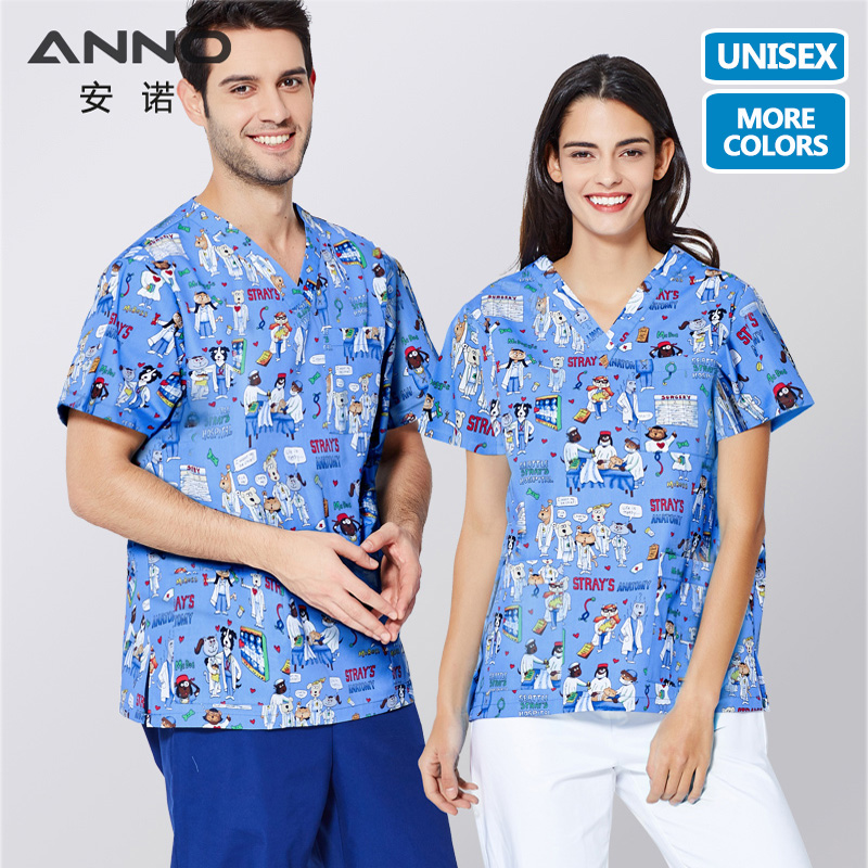 ANNO Short Sleeves Nurse Uniforms Medical Cloths Top Pant Surgical Gown Nursing Scrubs For Women Men Hospital Suit Set