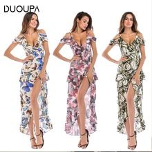 DUOUPA Women's Dress 2019 Bohemian Chiffon Dress Asymmetric Cardigan Long Dress Sleeveless Evening