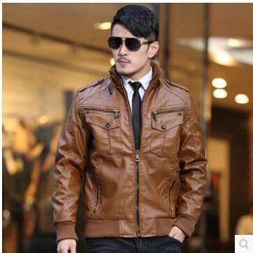 2016 New Men's Brand Washed Leather Jacket Fashion Retro Thickening Motorcycle Leather Jacket Men Winter Plus Size Leather Coat