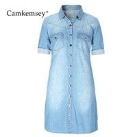 CamKemsey Summer Denim Dress Shirt Women 2018 Spring Half Sleeve Washed Blue Jean Mini Dress Female Tunic Vestidos