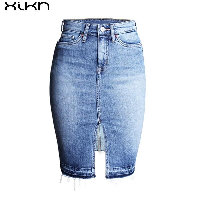 9687214bcca531 XIKN Vrouwen Jeans Rok Sexy Vrouwen Hoge Taille Jean Rechte Rok Split Jeans  Rokken Womens Bodycon Denim Rokken AI128 in XIKN Vrouwen Jeans Rok Sexy  Vrouwen ...