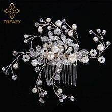 TREAZY Pretty Bridal Simulated Pearl Crystal Flower Hair Combs Handmade Bridesmaid Bride Wedding Tiaras Jewelry Accessories