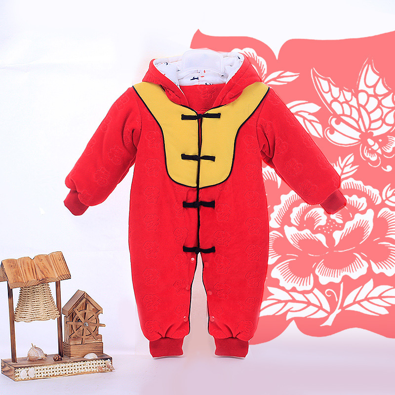 2018 Winter Padded Cotton Rompers Christmas Red Newborn Baby Boy Clothes New Year Baby Girl Clothing for Newborns Bebes Outfits in the winter of 2016 new products on the market loose big yards thickened cotton linen jacquard women cotton padded clothes