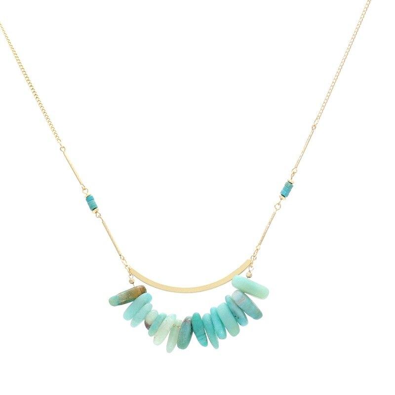 Bohemia Light Blue Natural Stone Beads Necklace Tassel Pendant Geometric Gold Chain Sweater Dress Necklace Body Brand Jewelry