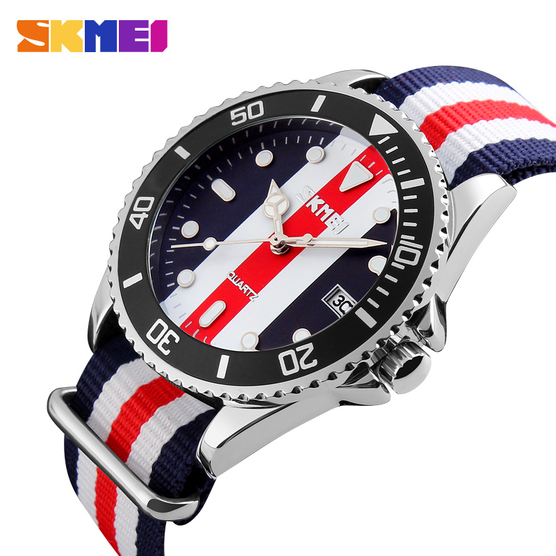 SKMEI Lovers Watches Men And Women Fashion Casual Watch Nylon Strap 30M Waterproof Multiple Quartz Wristwatches reloj hombr 9133
