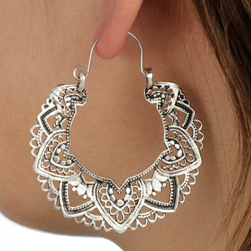 11 Styles Indian Tribal Brass Earring Dangle Drop Earring Flower Ornate Swirl Gypsy Earring For Women Boho Vintage Earring