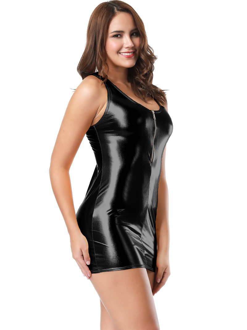 10 Color Hot Club Girl Metallic Wet Look Party Dress Sexy -2137