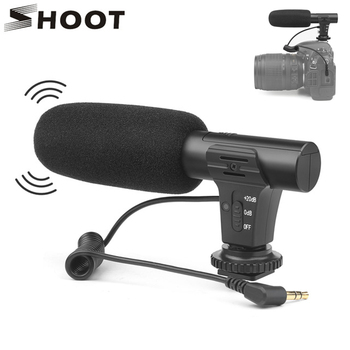 SHOOT Stereo Camcorder Microphone DSLR Camera Microfone For Nikon Canon Sony Samsung DSLR Camera For Xiaomi 8 iphone X