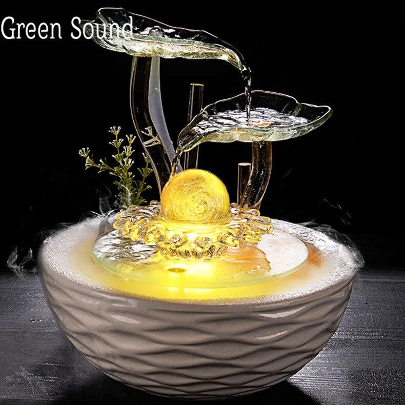 Fontaine d'eau en verre Feng Shui céramique fontaine d'eau fleur Figurines Miniatures de bureau