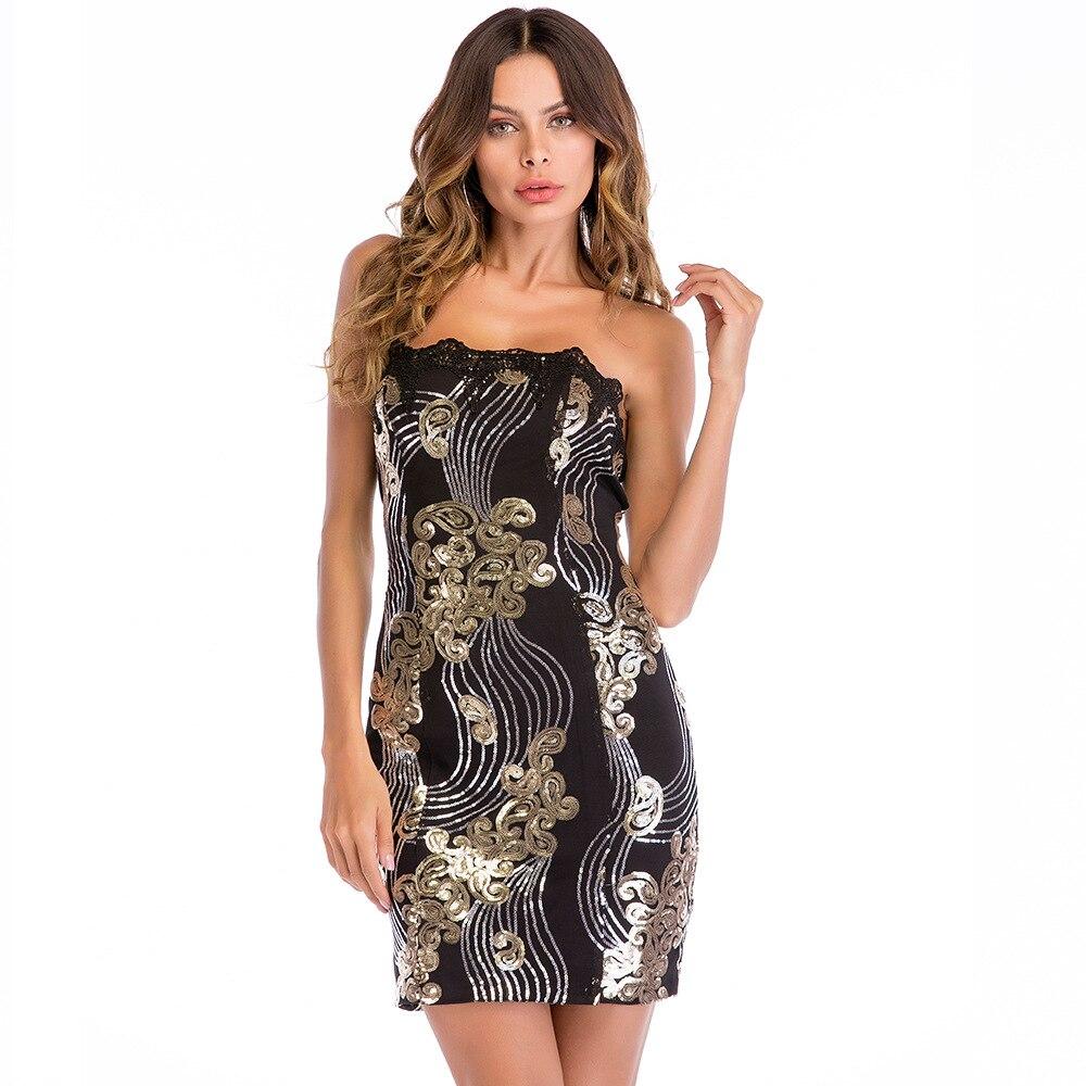 Plus Size S-XXL Sequined Sexy Bodycon Dress Women Strapless Backless Party Dress Elegant Clubwear Mini Summer Dress Vestidos