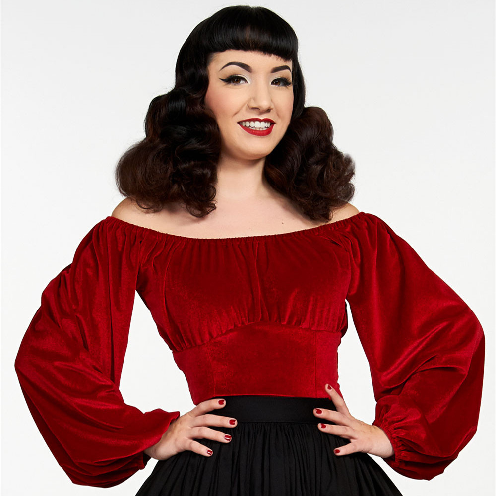 7b75983a9ef 20 women vintage pinup couture swann top in red stretch velvet plus size  long lantern sleeve boat neck fit top elegant shirts-in Blouses   Shirts  from ...