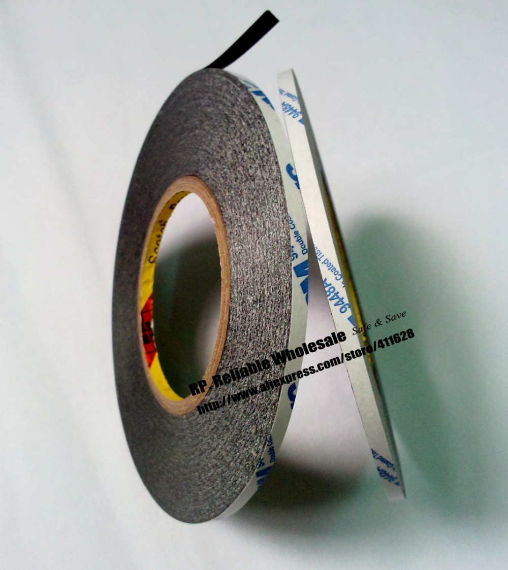 2 Rolls 5mm wide, 50 Meters/roll, Original 3M 9448AB Black Double Sided Adhesive Ribbon Strip for Phone Tablet Touch Screen LCD, 50 meters roll 0 2mm thick 2mm 50mm choose super strong adhesive double sided sticky tape for cellphone tablet case screen