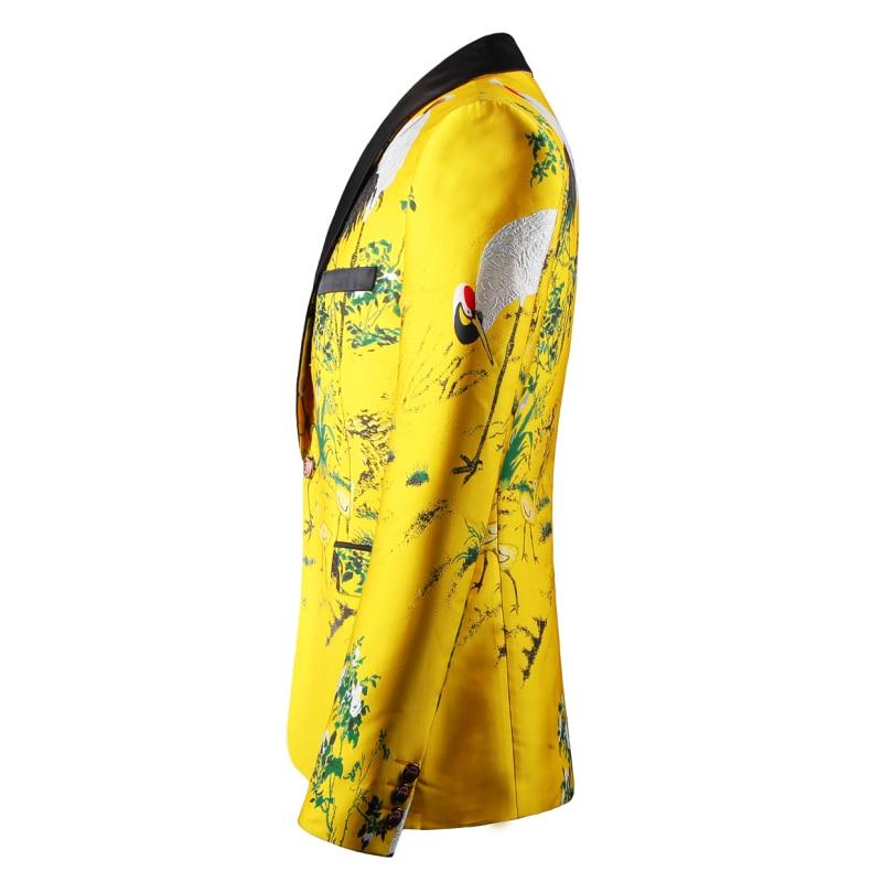 黄色のスーツジャケット男性プリントブレザースリムフィット花男性ステージ服ブレザー柄のスタイリッシュなパーティー結婚式ジャケット 5XL