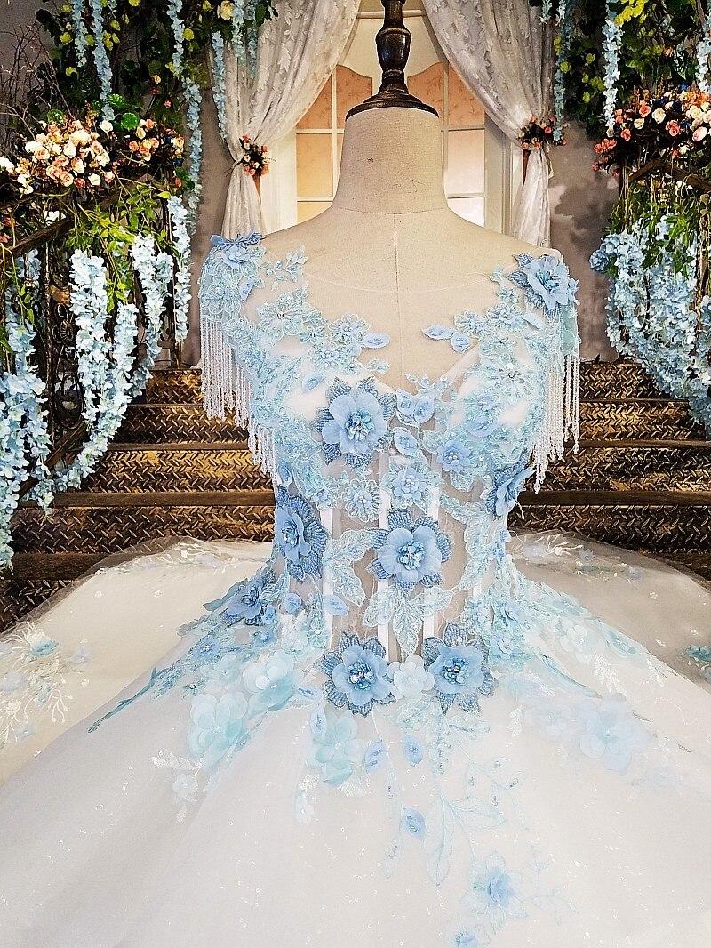 LS00170 marfil vestido de novia con encaje azul flores de la tienda ...