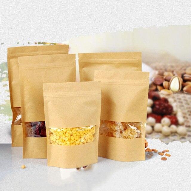 100 pcs Saco de Papel Kraft Saco Do Presente de Embalagem de Chá de Alimentos Saco Zip Lock com Janela Stand Up Pouches Zipper Kraft saco Frete grátis