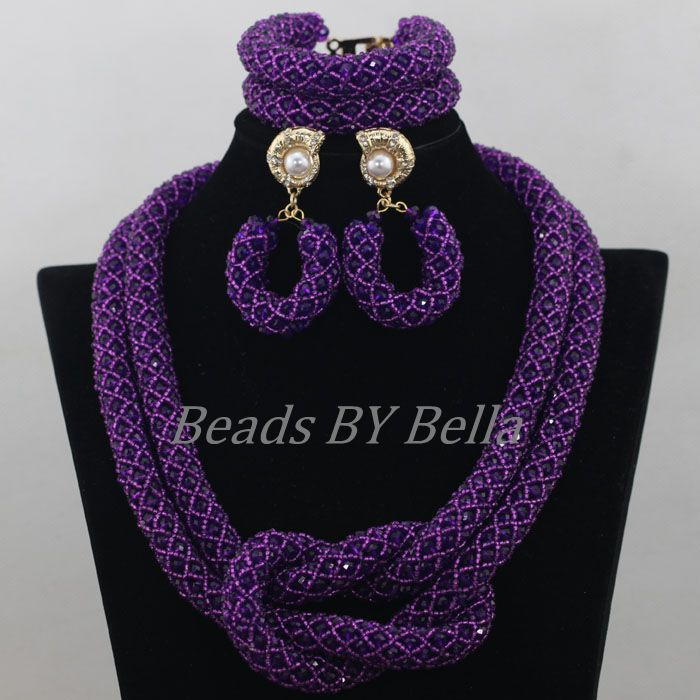 Splendid Purple Crystal Beads Jewellery Nigerian Traditional Beads African Costume Wedding Jewelry Set Free Shipping ABF686
