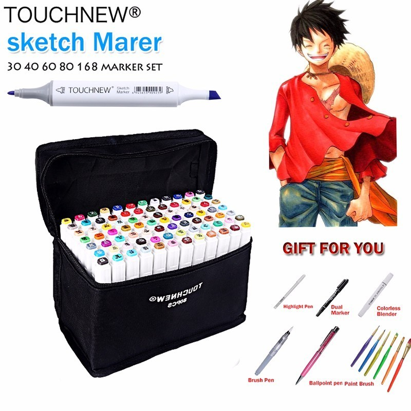 TOUCHNEW(T7) 30/40/60/80/168 Colors Art Marker Set Alcohol Based Sketch Marker Pen Fineliner For Drawing Manga Office supplies promotion touchfive 80 color art marker set fatty alcoholic dual headed artist sketch markers pen student standard