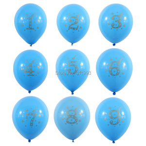 Image 2 - 12 יח\חבילה ילדים יום הולדת בלון writting מספר 1 2 3 4 5 6 7 8 9 שנים 1st 2nd מסיבת יום הולדת דיגיטלי בלון לטקס Globos