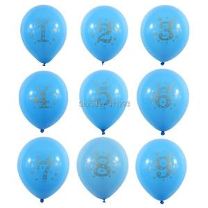 Image 2 - 12pcs/lot Kids Birthday balloon writting number 1 2 3 4 5 6 7 8 9 years old  1st 2nd Birthday party  digital ballon Latex Globos