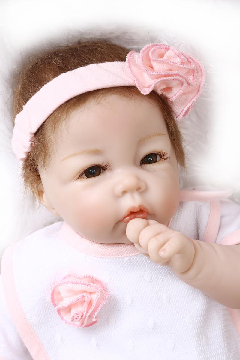 22 inch 52cm baby reborn Silicone dolls lifelike doll reborn babies for Children s toys Beautiful