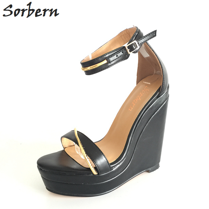 цена на Sorbern Sandals Women Shoes Plus Size Custom Made Color Women Wedges Chaussures Femme Ete 2017 Zapatos Mujer Real Image Sandals