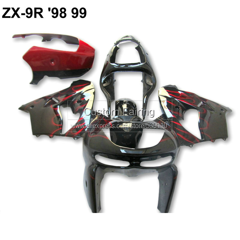 ABS Motorcycle fairining kit for Kawasaki ZX9R zx 9r 1998 1999 Ninja 99 98 red flames black fairing kit xl08