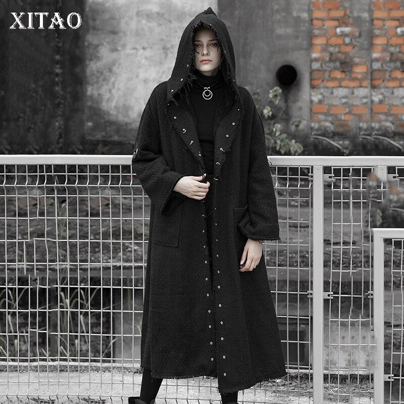 Poitrine Capuchon 2018 Complet À Collier Corée Hiver Mode Manteau De Femlae Femmes Mélange Couleur Solide Black xitao Nouveau Unique Manches Lyh2085 qvwFOF