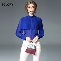 Blue Red Shirts 2018 Autumn Spring Fashion Blouses for Women Pleated Patchwork Long Sleeve Sexy Shirt Beading Chiffon Blouse