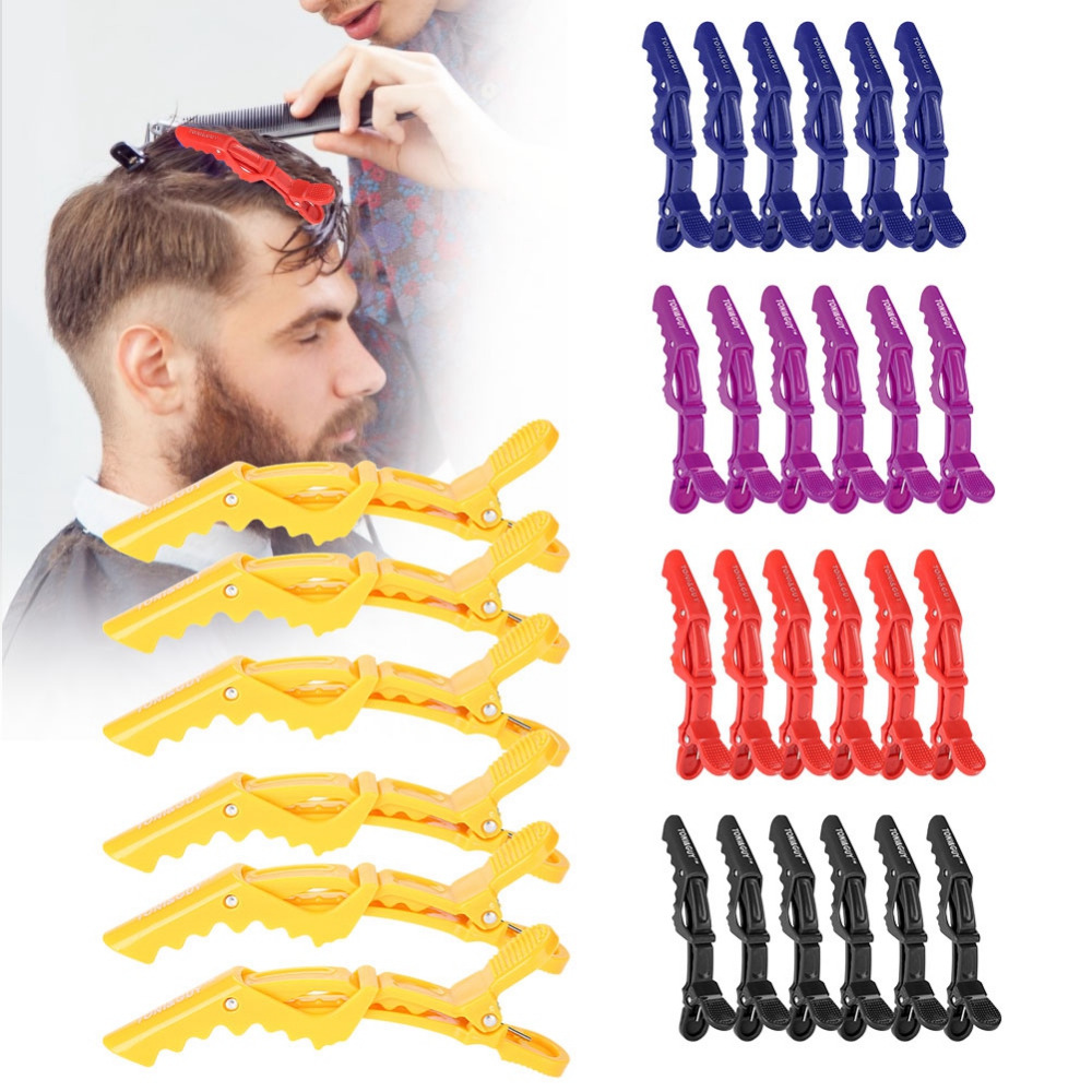 6pcs/set Salon Single Prong Hair Clip Crocodile Hairpin Anti-slip Braiding Hair Pins Claw Hairdressing Clamps  Plastic Barrettes