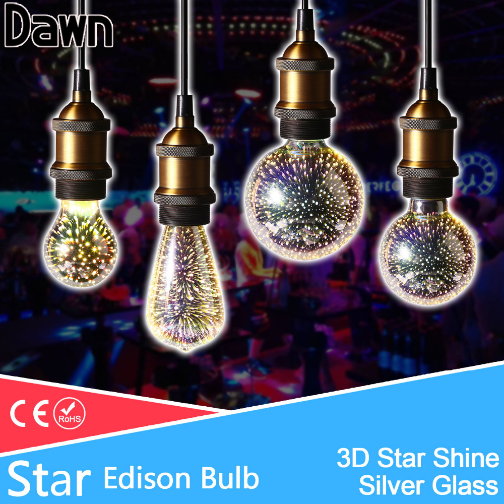 3D Star Led Edison Light Bulb e27 led lamp decoration bulb 220V light st64 g80 g95 a60 novelty lamp for Holiday Party Bar stage mipow btl300 creative led light bluetooth aromatherapy flameless candle voice control lamp holiday party decoration gift