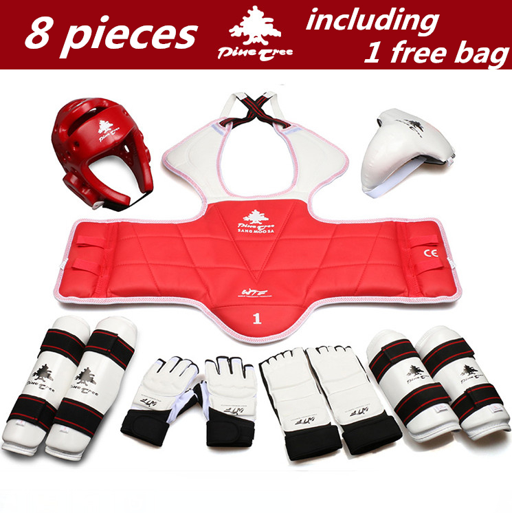 8 pieces taekwondo protectors full set of child adult Helmet Chest head protector Armguards Shank protector Crotch free shipping chinese chronological stamps 2005 15 nature reserve a full set of 4 pieces to the sea unc free shipping