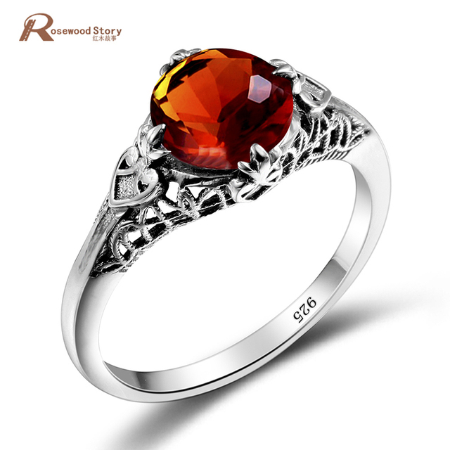 One Piece Vintage Brown Stone Amber Ring Lace Style 925 Sterling Silver Jewelry Wedding