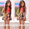 Drop Shipping Beautiful Children Clothing Sets Summer Girl Dress Skirt Suit Kids Clothes Dress For Baby Girls YAZ015