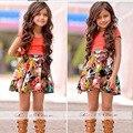 Envío de la gota Hermoso Niños Juegos de Ropa de Verano Vestido de La Muchacha Traje de Falda Niños Ropa De Vestir Para Las Niñas YAZ015