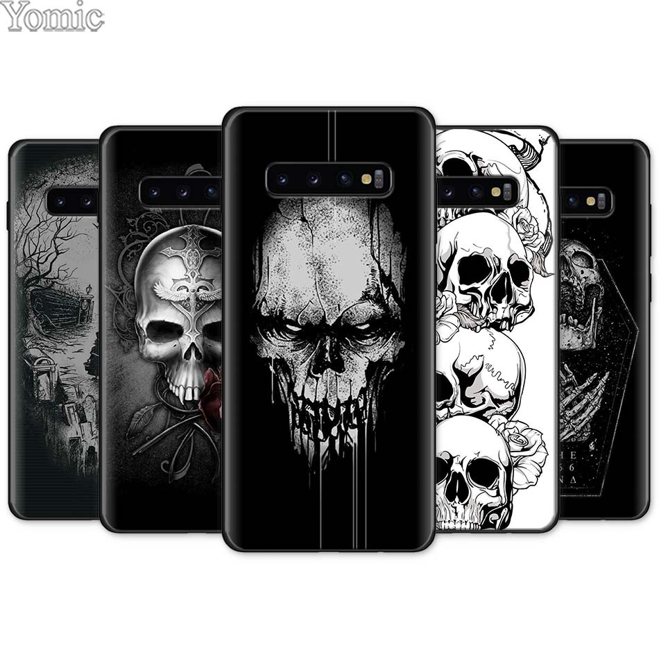 Fashion Retro Style Flower Skull Black <font><b>Silicone</b></font> <font><b>Case</b></font> for <font><b>Samsung</b></font> Galaxy S10e S10 S8 S9 Plus S7 A40 A50 <font><b>A70</b></font> Note 8 9 Soft <font><b>Case</b></font> image