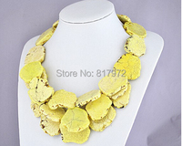 Dazzling Special Design Handmade Gift Light Yellow stone Slice Necklace 3 Layer Exaggerated Necklace Jewelry