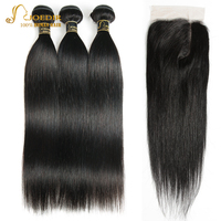 Joedir Hair Brazilian Straight Hair Bundles With Closure 5*6 Lace Closure With Bundles 28 Inch Bundles With L Deep Part Closure