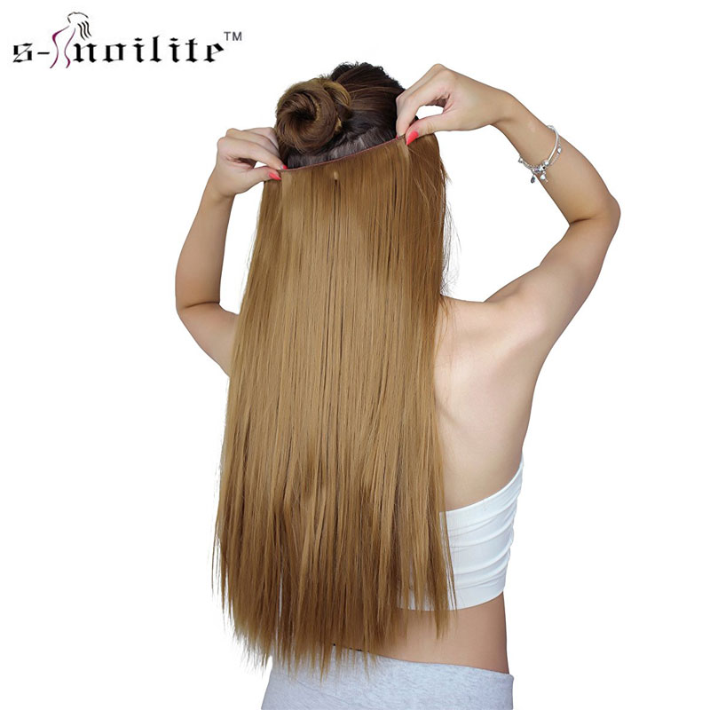 SNOILITE 26 inch(66cm) Long Straight synthetic clip in one piece hair extensions heat resistant clip ins hair hairpiece ...